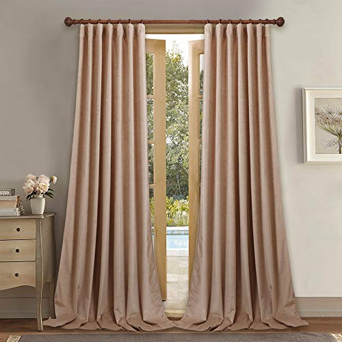 StangH Beige Blush Curtains Velvet - Home Decoration Back Tab Design Light Blocking Window Curtains, Sound Lower Privacy Drapes for Classroom / Baby Sleeping, W52 x L96, 2 Pieces