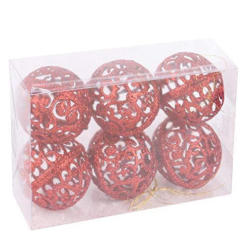 ODJOY-FAN 6pcs Weihnachtsbaum Dekoration Ball Weihnachten Baum Ball Flitter Hängend Zuhause Party Ornament Dekor Anhänger Hängend 6 cm (Rot,6 PC)