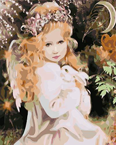 SFFLILY Schilderen op nummer-voorbedrukte canvas-olieverfschilderij cadeau voor volwassenen kinderen kits huis decoratie - karikatuurmeisje met slinger 50x65cm