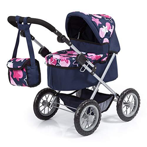 Bayer Design 13069AA poppenwagen Trendy, in hoogte verstelbaar, inklapbaar, met schoudertas en boodschappenmand, blauw, roze met modern sterrenpatroon