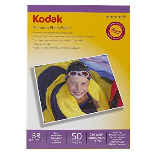 Kodak Premium Hochglanzfotopapier, 12,7x 17,8cm, 5R, 50Blatt pro Packung, 230g/m²
