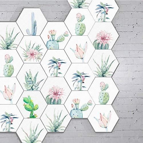 Prior.choice 10 piezas Chic Green Tropical Cactus Hexágono Autoadhesivo de PVC extraíble antideslizante impermeable para baño, cocina, hogar, decoración del suelo o pared