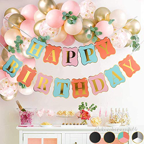 Chic Happy Birthday Banner Party Decorations   Large Tri-Color Birthday Letter Sign Bunting Garland for Girls, Women First, 10th, 18th, 21st, 30th, 40th, 50th, 60th Party Decorations