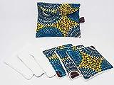 Lingettes Lavables Demaquillantes Zéro Déchet Cadeau en Wax Bleu Vert Lot de 6 et Pochette de Rangement 6KREATION