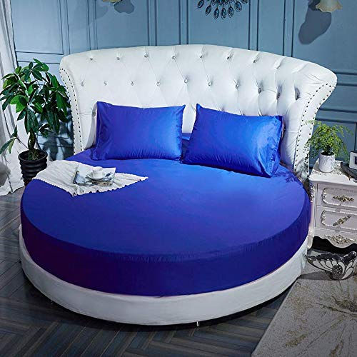Sábana de cama redonda de algodón puro sábana de cama redonda de algodón de una pieza funda de cama de cuatro piezas colchón de hotel funda protectora antideslizante zafiro Sábana de 2,2 m de diámetro