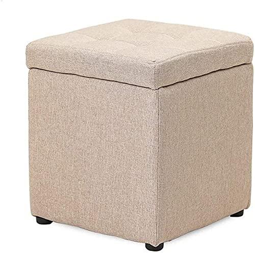 BEHOSE Almacenamiento Ottoman Cube, Muebles Tapizados De Lino Premium para Almacenamiento, Asiento De Silla De Caja De Taburete De Maquillaje Cuadrado - 30x30x35cm,Brown