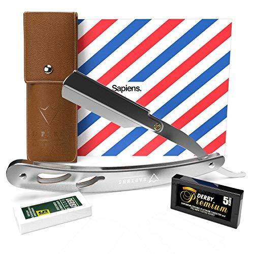 Rasiermesser mit Wechselklinge von Sapiens Barbershop - Barber messer set mit 10 Derby Rasierklingen (20 Rasiermesser klingen) und Kunstleder-Etui - Bartmesser für Männer - Straight razor