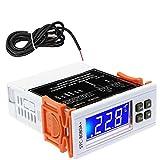 Exanko STC-8080A + Controlador de Temperatura Digital DC24V TemporizacióN AutomáTica Descongelamiento Termostato Inteligente FuncióN de Alarma 40% Apagado