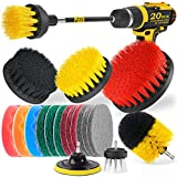 Holikme 20Piece Drill Brush Attachments Set, Scrub Pads & Sponge,Buffing PadsPower Scrubber Brush with Extend Long AttachmentCar Polishing Pad Kit