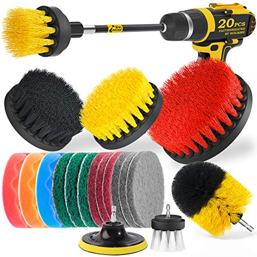 Holikme 20Piece Drill Brush Attachments Set Scrub Pads amp SpongeBuffing Pads,Power Scrubber Brush with Extend Long Attachment,Car Polishing Pad Kit
