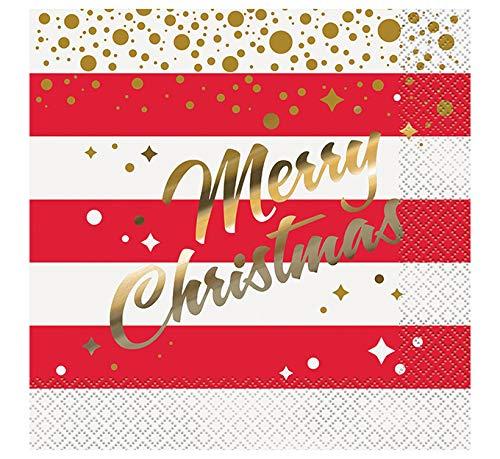 Generique - 16 Servilletas de Papel Navidad Rojo y Oro 33 x 33 cm