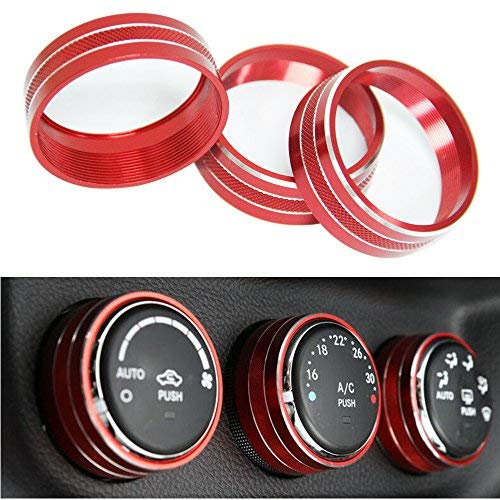 Bentolin 3pcs Interior Audio Air Conditoning Button Cover Decoration Twist Switch Ring Trim Compatible with Jeep Wrangler JK JKU Patriot 2011-2018 (Red)