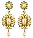 Touchstone Adorabili orecchini in argento con brillanti smeraldi e perle finte di Bollywood indiano per donna Verde