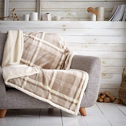 Artística Fashionista* Manta de forro polar suave y cálida y acogedora de piel de oso de peluche LINCOLN Check, manta para sofá cama, manta para sofá o cama (natural, doble – 130 x 180 cm)