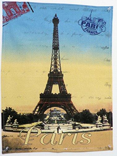 TORCHON DE CUISINE 45x65 cm AMBIANCE CARTE POSTAL PARIS TOUR EIFFEL 2