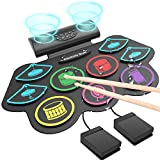 Electronic Drum Set, Roll Up Drum Practice Pad Midi Drum Kit with Headphone Jack Built-in Speaker Drum Pedals Drum Sticks 10 Hours Playtime(Colorful)