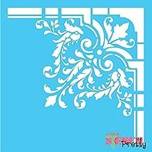 Standard Brilliant Blue Color Material Fancy Victorian Corner Stencil - Damask Border Design-XS (9