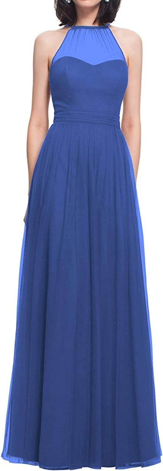 JQLD Women's Halter A Line Pleated Long Bridesmaid Dresses 2019 Sweetheart Tulle Prom Formal Gowns