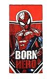 Marvel Spiderman Toalla de Playa, Toalla de Baño, 140 cm x 70 cm, 83% Algodón, 17% poliéster, para Niños (Rojo)