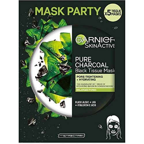 Garnier SkinActive, Maschera in tessuto idratante e purificante Pure Charcoal, Per pelli con pori dilatati, Carbone vegetale, Alghe nere e LHA, Confezione da 5