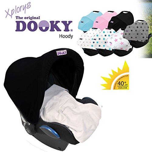 Original DOOKY HOODY * Style UV+ ** Capote / Protège pare-soleil -- Universel pour siège auto Maxi-Cosi (Citi, Pebble, CabrioFix, Cabrio,... ), Römer, Cybex et autre (Noir)