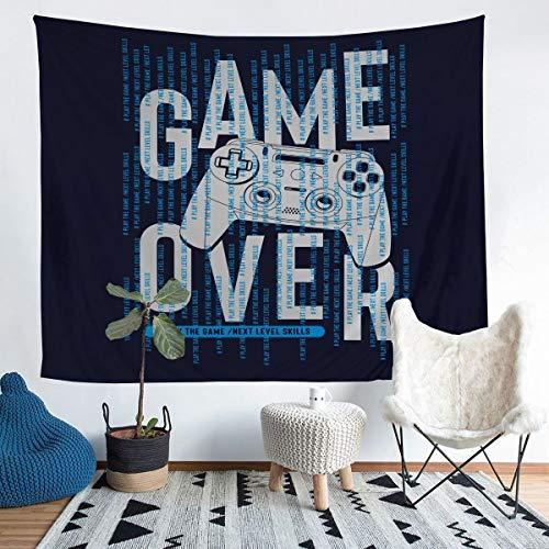 Tapiz para colgar en la pared de Gamepad para videojuegos, azul, moderno, controlador de juego, manta de pared para niños y niñas, botones de acción de microfibra, manta de cama extragrande, 69 x 91