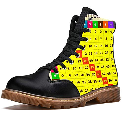 LORVIES - Modelo de mesa de multiplicación, botas de invierno, zapatos altos de tela con cordones para hombre, (multicolor), 41 EU