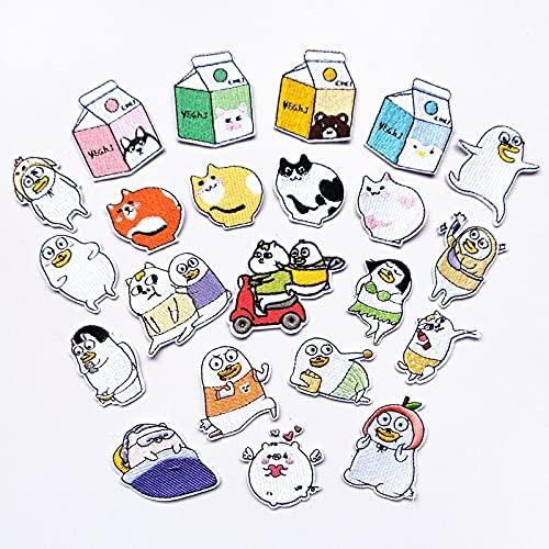 Patch Sticker,Parche termoadhesivo,Aplique de bordado adecuado para sombreros, chaquetas, abrigos, camisetas gato de lechería 22 piezas