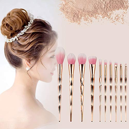 Tuzi Qiuge Griff Make-up Pinsel Diamond Style Griff Make-up-Bürsten-Kosmetik-Stiftung Creme Powder Blush Makeup-Werkzeug-Set (Color : Gold)