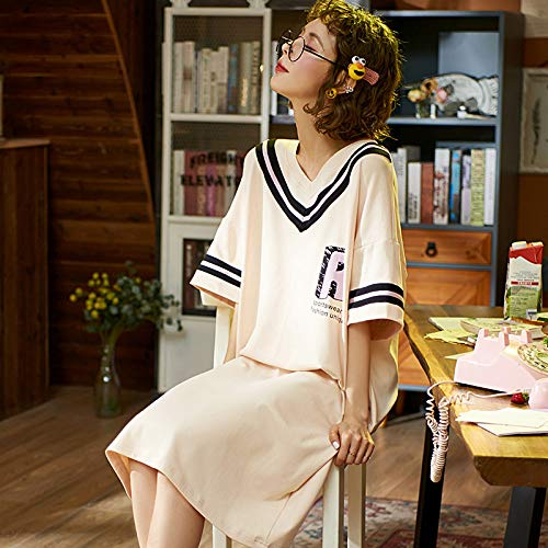 Ensemble Pyjama Femmes,Maison D'Été Doux Coton Style Collège Cute Cartoon Alphabet Imprimer Blanc Grande Taille Chemise Décontractée Confortable Lâche Accueil Vêtements Peuvent Être Porté