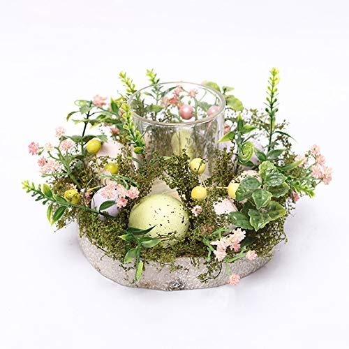 Pumpumly Nórdico Huevo de Pascua Luces de té Decoración de Cristal Candelabro Plantas Artificiales Partido Natural Planta Vela Hecho a Mano