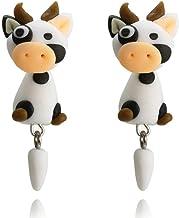 Diseño de moda hecho a mano 3D Animal Cartoon Cow Stud Pendientes para mujeres Cute Polymer Clay Earrings Jewelrygifts