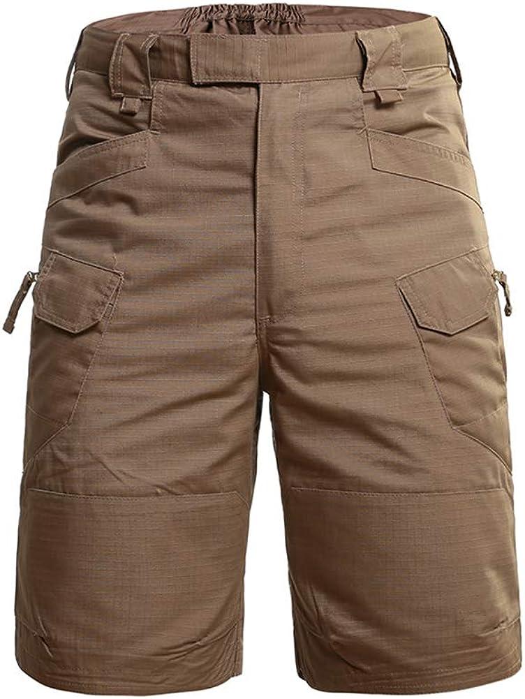 YFFUSHI Mens Camo Cargo Shorts Classic Elastic Waistband Outdoor Lightweight Shorts