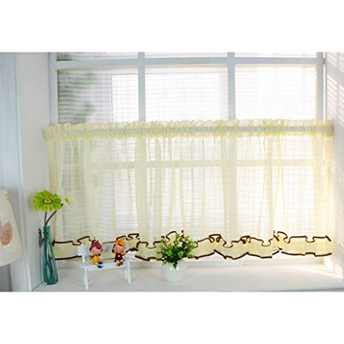 Eastery 1Er Pack Klassiker Kleine Gitter Style Scheibengardine Bistrogardine Küchengardine Himmelgelb Einfacher Stil Bxh 140X100Cm (Color : Himmelgelb, Size : Bxh 90X90Cm)