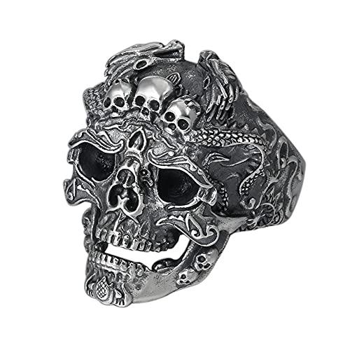 DZXCB Plata Esterlina S925 Patrón Cráneo Gótico Retro Anillo De Apertura, Tallado Tridimensional Ajustable Punk Roca Dedo Joyas