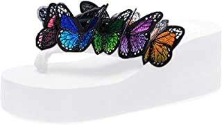 Womens Flip Flops Platform Wedge Sandals Butterfly-Floral Anti-Slip Summer Thongs Slippersa