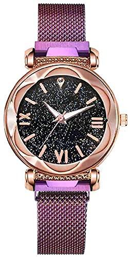 Mano Reloj Reloj de pulsera Luxury Women Watches Fashion Elegante Imán Hebilla Vibrato Púrpura Ladies Reloj de pulsera Sellero Sky Romano Número Regalo Relojes Decorativos Casuales ( Color : Morado )