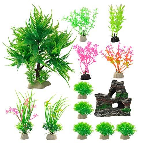 N\A 13 Stück Aquarium Wasserpflanzen künstliche Kunststoffpflanzen mit Harz Höhle Fisch Tank Ornament Dekoration