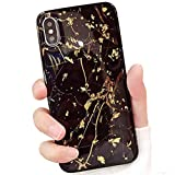 Tybiky Funda para iPhone 8 Plus, iPhone 7 Plus, carcasa de silicona flexible suave, ultrafina, TPU antigolpes, funda protectora para iPhone 8 Plus (5,5 pulgadas), diseño de hoja de oro negro