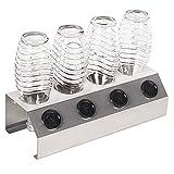 RICOO Abtropfhalter für SodaStream aus Edelstahl für 4 Wassersprudler-Flaschen und Karaffen STS-014 | Design Geschirrabtropfgestell inkl. Deckelhalter für Glasflasche oder Plastikflasche