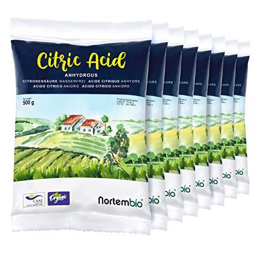 NortemBio Acide Citrique 4 Kg (8x500g). Poudre Anhydre, 100% Pure. pour la Production Biologique. E-Book Inclus.