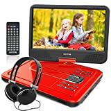 WONNIE 12.5 Inch Portable DVD Player, 10.5' Swivel Screen, 4 Hours Rechargeable Battery, USB/SD Slot (RED)
