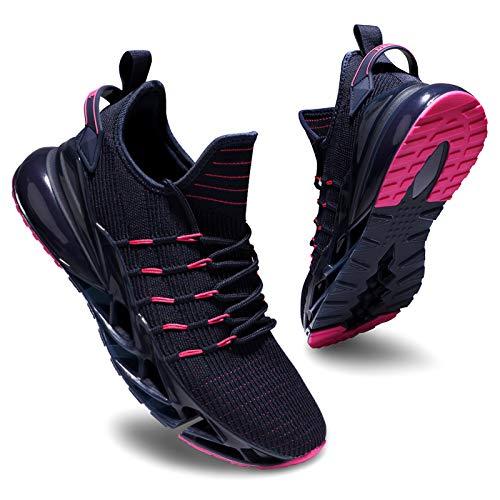 Deevike Sneaker Damen Laufschuhe Wanderschuhe Sportschuhe Turnschuhe rutschfest Stoßfest Fitness Schuhe Blau Rosa-38