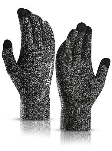TRENDOUX Laufhandschuhe Herren, Handschuhe Damen Touchscreen - Winter Thermo Thin Material - Rutschfester Griff - Warm Gefüttert - Winddicht Strickhandschuhe Fäustlinge Autofahren - Schwarz weiß M