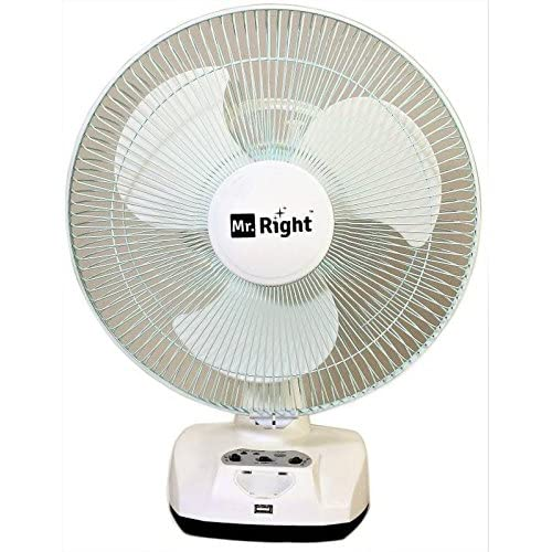 16a933639 Mr. Right 3 Blade Oscillating AC-DC Rechargeable Plastic Table Fan- White