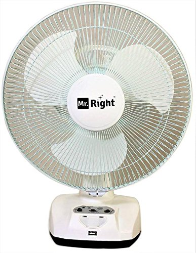 Mr. Right 3 Blade Oscillating AC-DC Rechargeable Plastic Table Fan- White