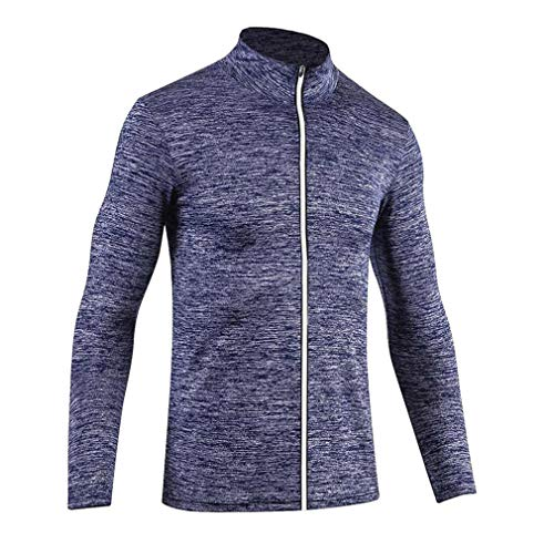 Men's Long Sleeve Slim Fit Running Cycling Quick Dry Basketball Sports Sweatshirt Breathable Training Fitness Coat Tops(Royal Blue, XL)