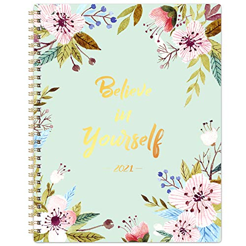 """2021 Planner - 2021 Weekly & Monthly Planner with Tabs, 2021 Floral Planner, Jan 2021 - Dec 2021, 8"""" x 10"""", Inner Pocket, Elastic Closure, Strong Twin-Wire Binding"""