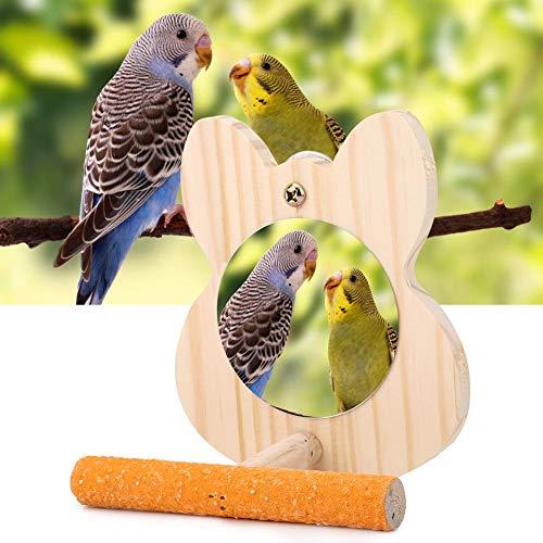 Vogel houten standaard, huisdier houten papegaai vogel vink stand kooien accessoires met spiegel parkiet kauwen onderhoudend speelgoed (S)