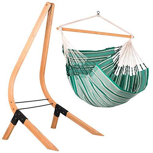 LA SIESTA Habana Agave - Organic Cotton Kingsize Hammock Chair with Vela Sustainable Wood Stand